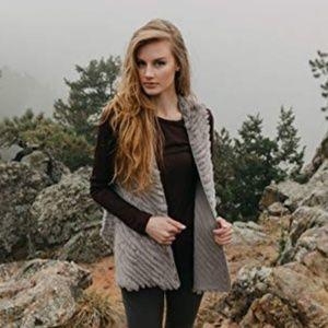 Love Token Layla Rabbit Fur Vest in Grey